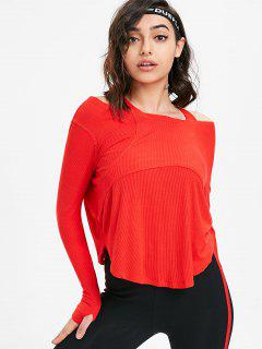 Thumbhole Ribbed Cold Shoulder Top - Red L