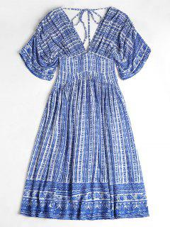 Porcelain Print V Neck Midi Kaftan Dress - Sapphire Blue M