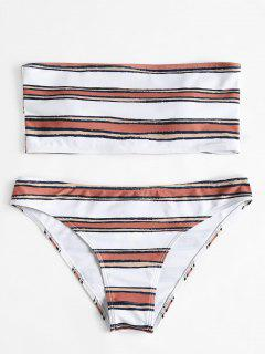 Horizontal Stripe Bandeau Bikini Set - White L