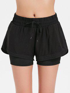 Mesh Overlay Sports Shorts - Black S