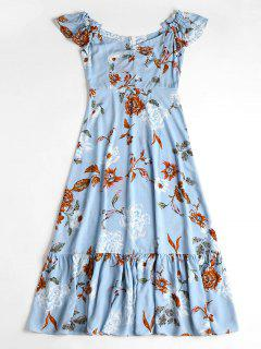 Off The Shoulder Floral Midi Dress - Denim Blue S