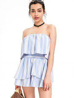 Striped Overlay Top With Tiered Skirt Set - Light Blue L
