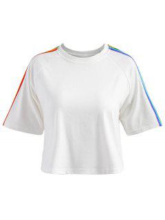 Striped Patched Raglan Sleeve Tee - White M