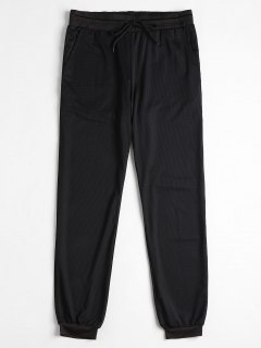 Mesh Drawstring Jogger Pants - Black L