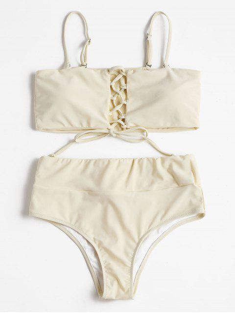 fashion High Waisted Lace Up Bikini - BEIGE S Mobile