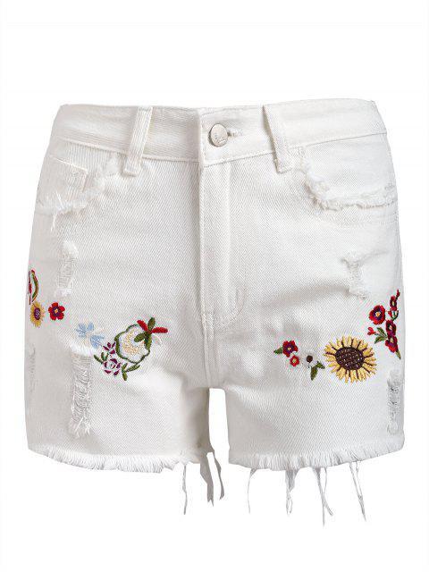 Short Denim à Patch Floral à Bordure Usée - Blanc M Mobile
