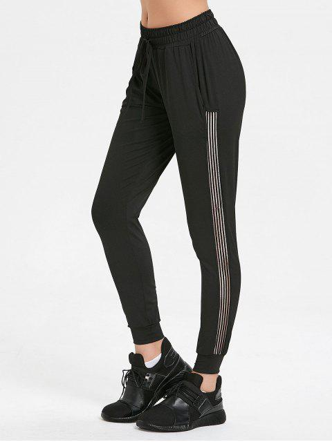 womens Tape Jogger Pants - BLACK L Mobile