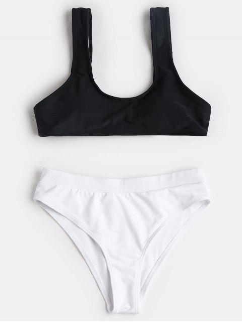 Scoop Two Tone High Cut Bikini - Blanco y Negro M Mobile
