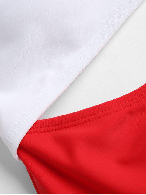 Traje de baño de dos tonos recorte - Rojo L Mobile
