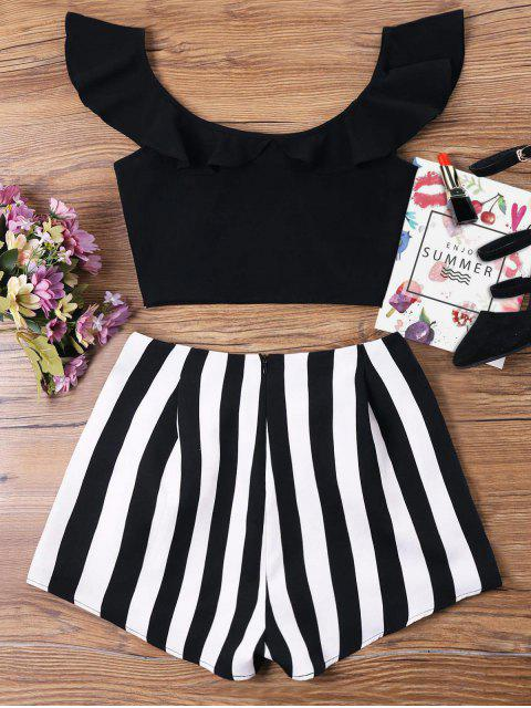 hot Ruffle Striped Shorts Two Piece Set - BLACK M Mobile