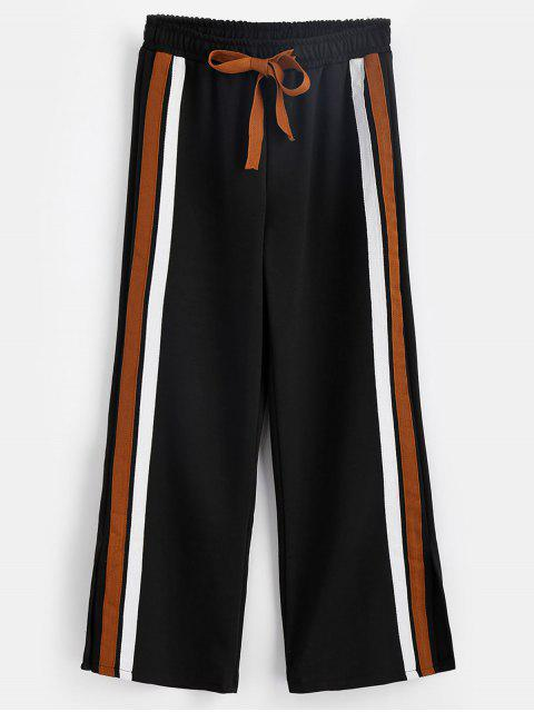 new Striped Patched Slit Pants - BLACK XL Mobile
