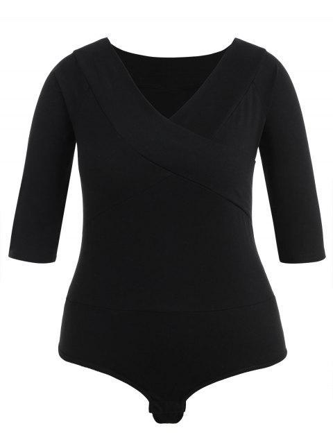 sale Plus Size Plain V Neck Bodysuit - BLACK 1X Mobile