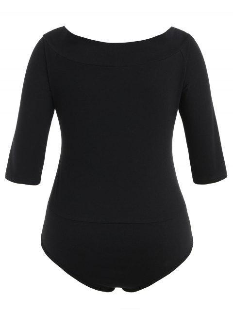 women's Plus Size Plain V Neck Bodysuit - BLACK 3X Mobile