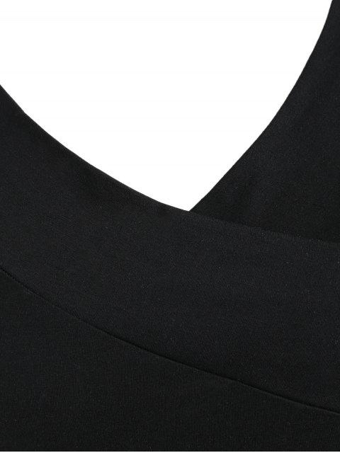 online Plus Size Plain V Neck Bodysuit - BLACK 5X Mobile