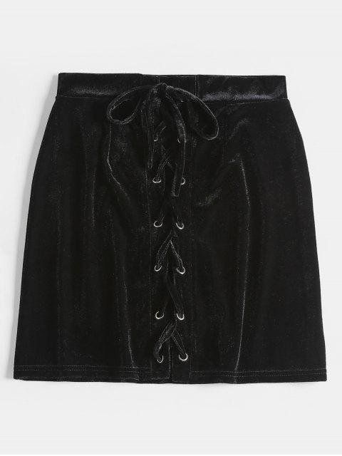 fancy Lace Up Velvet Skirt - BLACK L Mobile