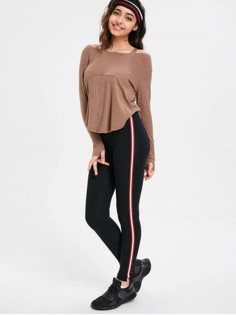 womens Side Stripe Skinny Pants - DARK RED ONE SIZE Mobile