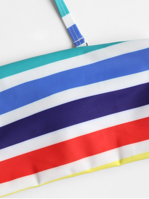women's Rainbow Striped Bandeau Bikini Set - MULTI L Mobile