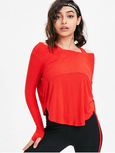 shops Thumbhole Ribbed Cold Shoulder Top - RED L Mobile