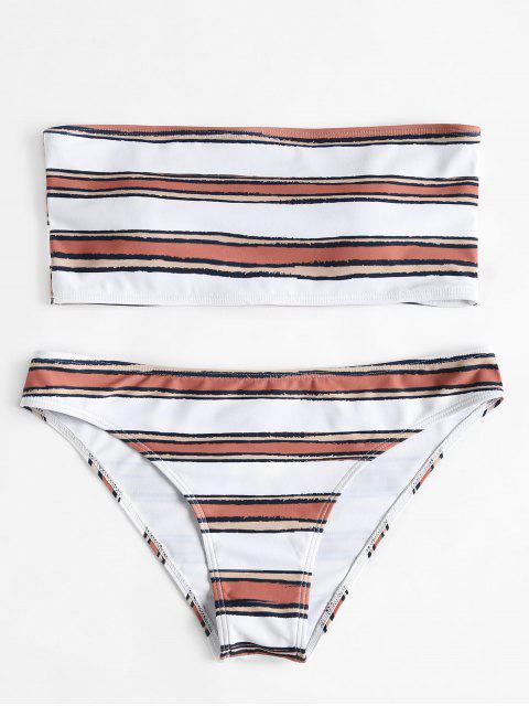 fashion Horizontal Stripe Bandeau Bikini Set - WHITE M Mobile