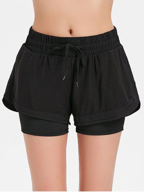 womens Mesh Overlay Sports Shorts - BLACK L Mobile