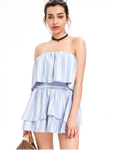 Top con rayas superpuestas y conjunto de faldas con niveles - Azul Claro L Mobile