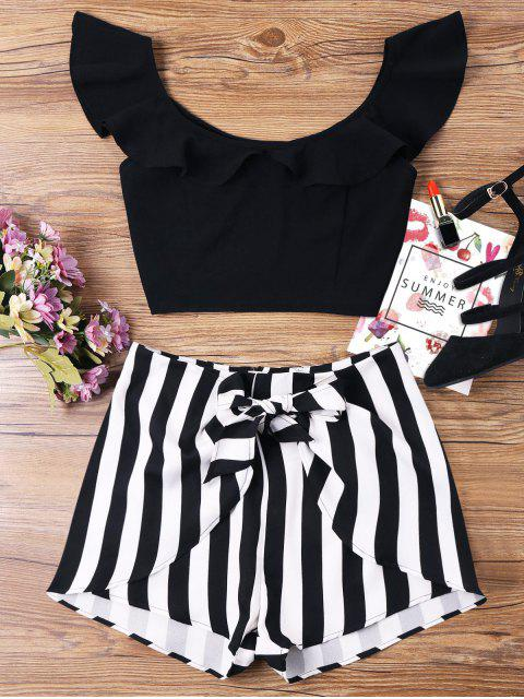 new Ruffle Striped Shorts Two Piece Set - BLACK S Mobile