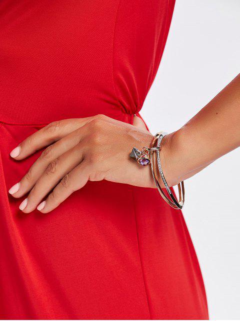 shops Rhinestone Faux Gem Layered Polished Bracelet - MULTI  Mobile