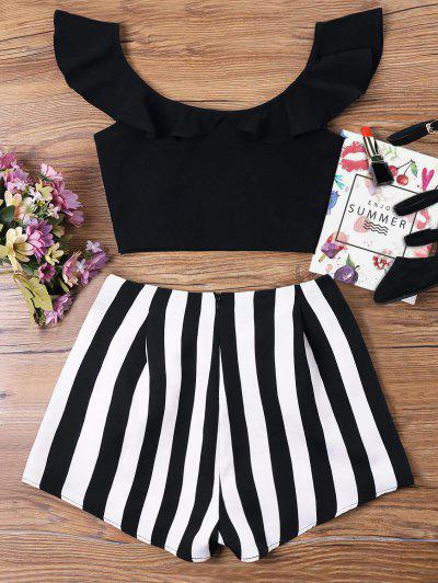 66b8dfb7544 ... Ruffle Striped Shorts Two Piece Set - Black S