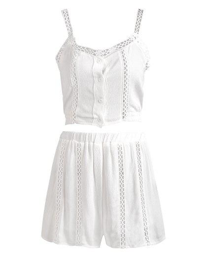Buttoned Openwork Top with Shorts Suit