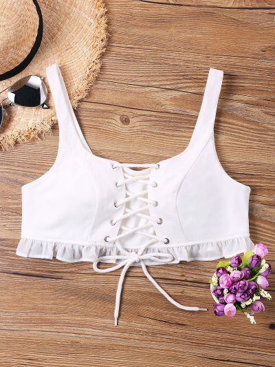 Lace-up Ruffle Crop Tank Top - White L