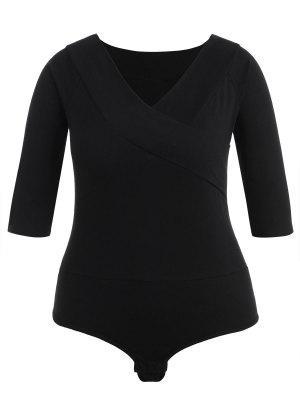 Plus Größe Plain V-Ausschnitt Bodysuit