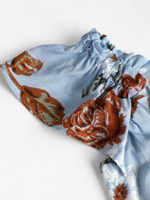 A Descubiertos Media Hombros Denim Pierna L Con Vestido Azul OXdvWwqXA