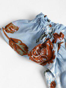 Hombros Azul Pierna Media Con A L Descubiertos Denim Vestido x4aZwUqIq