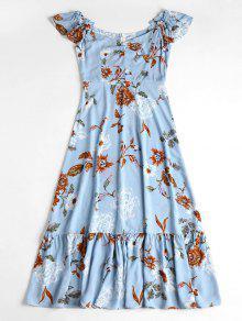 قبالة الكتف فستان ميدي الزهور - ازرق S