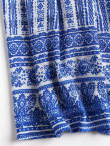 Porcelana De Zafiro Vestido V Xl En Pierna Media De Con Kaftan Y Estampado Cuello A De Azul A77Tq