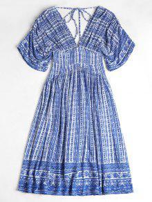 فستان ميدي غارق الرقبة طباعة - الياقوت الأزرق M