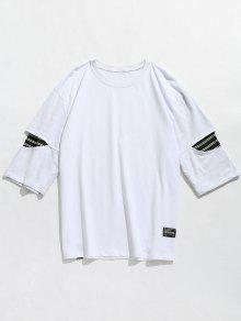 Camiseta De Hombro Con Paneles A Rayas - Blanco M