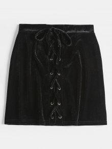 تنورة رباط مخملية - أسود L