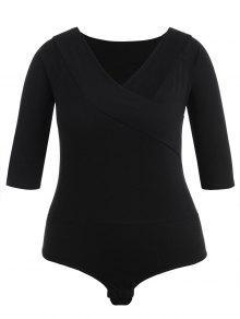 بالاضافة الى حجم عادي الخامس الرقبة ارتداءها - أسود 3x