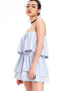De Niveles Claro Top Faldas Superpuestas Azul Y Con Con Conjunto Rayas S qxwBq1