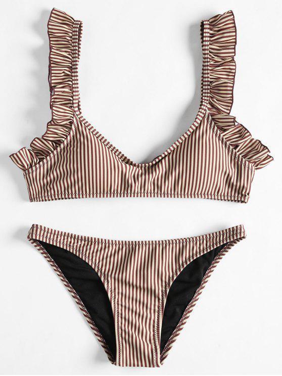 Conjunto de bikini de rayas dobladillo fruncido - Café S