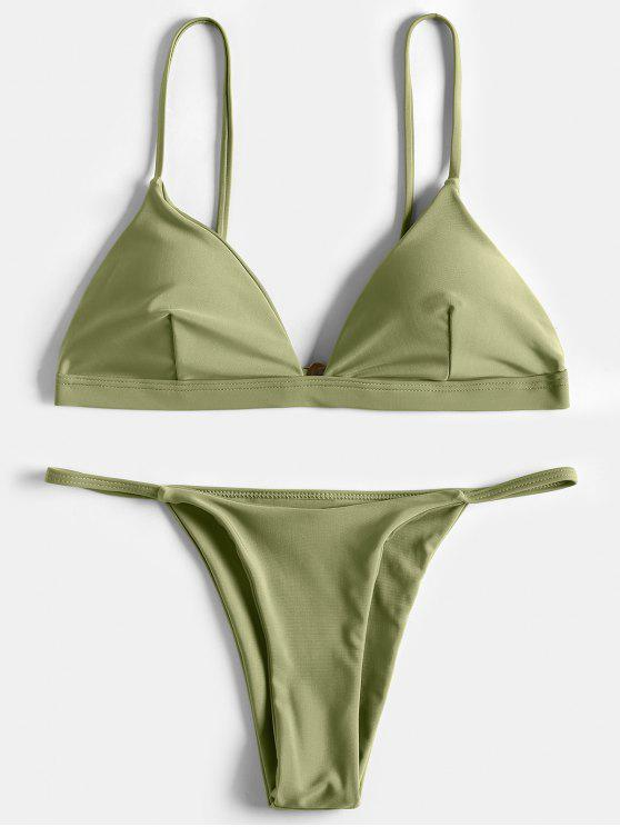 ladies Spaghetti Straps Plunge Thong Bikini Set - GRASS GREEN S