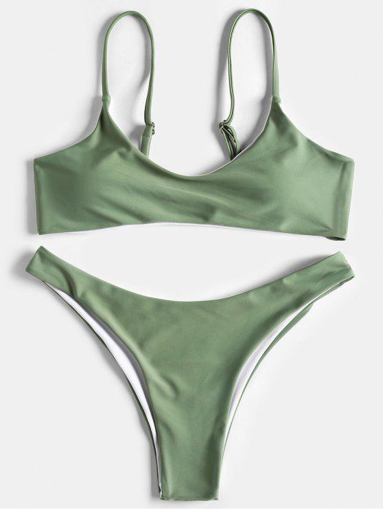 sale High Cut Scoop Thong Bikini Set - PEA GREEN L