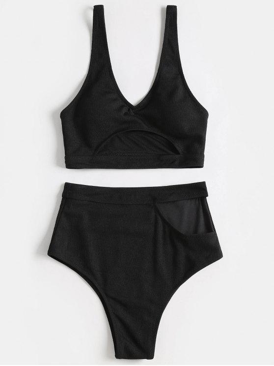 lady Plunge Cut Out High Waisted Bikini - BLACK 2XL