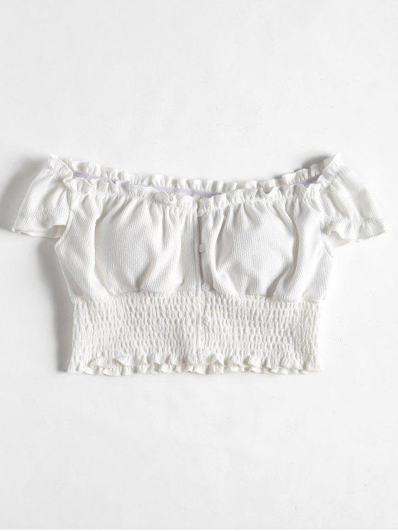 f5bd8faeea711c 33% OFF  2019 Smocked Off The Shoulder Crop Top In WHITE