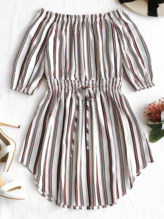 fashion Off The Shoulder Striped Dress - STRIPE M