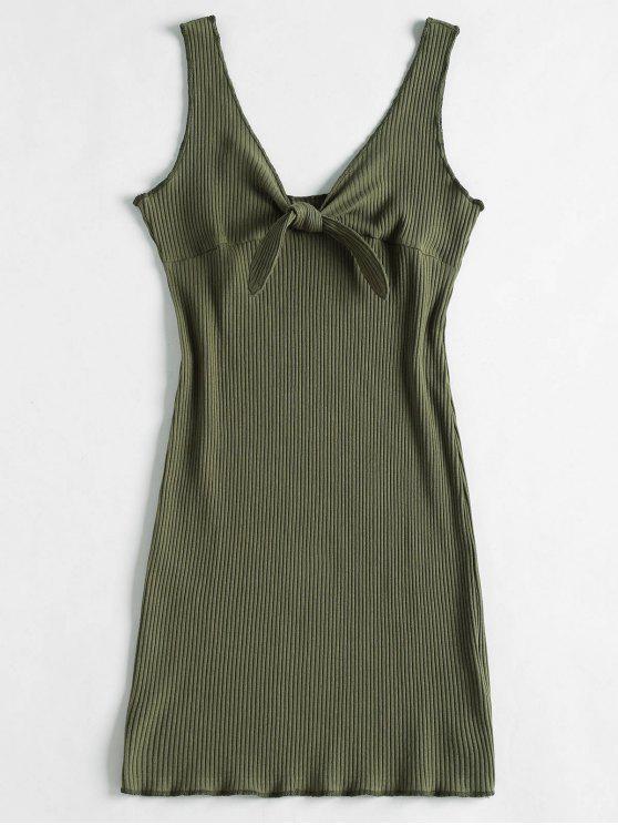 sale Ribbed Knot Mini Tank Dress - CAMOUFLAGE GREEN M