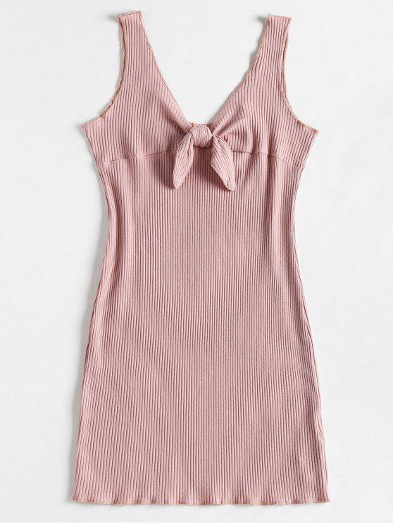 womens Ribbed Knot Mini Tank Dress - PINK BOW S