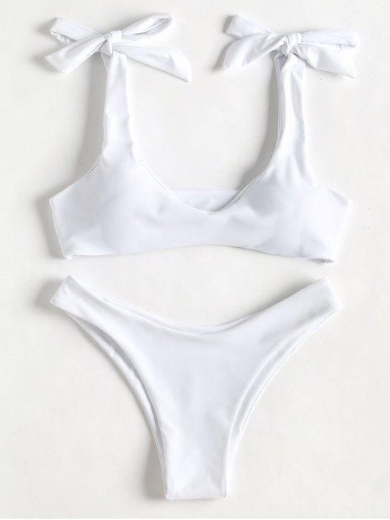 sale Scoop Tie Shoulder Padded Bathing Suit - WHITE S