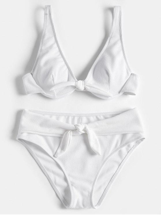 outfit Textured Underwire Tied Bikini Set - WHITE S